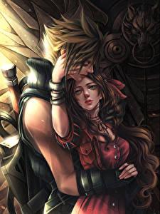 Обои Final Fantasy VII Любовь Любовники 2 Парень Cloud, Aerith Игры Фэнтези Девушки