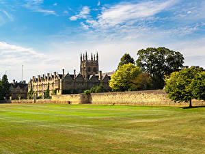 Обои Англия Газон Забор Merton College Oxford University город