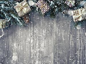Фото Новый год Шаблон поздравительной открытки Подарки Доски Снежинка