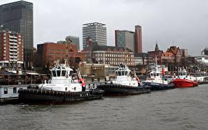 Фотографии Германия Дома Пирсы Речка Корабли Гамбург Elbe river Города