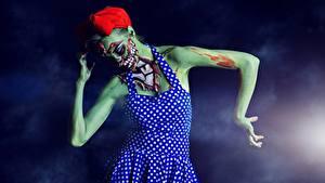 Картинка Зомби Хэллоуин Платье молодая женщина