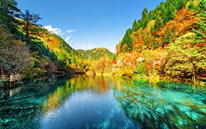 Фотографии Цзючжайгоу парк Китай Парк Осенние Горы Леса Озеро Пейзаж Природа