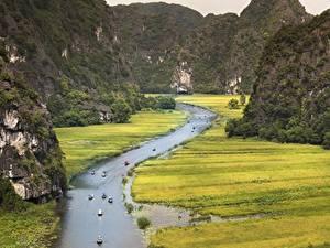 Картинка Вьетнам Горы Речка Лодки Скала Province Of Ninh Binh Природа
