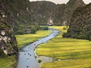 Картинка Вьетнам Горы Речка Лодки Скала Province Of Ninh Binh