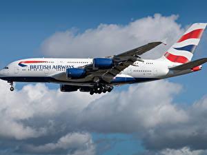 Картинка Airbus Самолеты Пассажирские Самолеты Сбоку British Airways