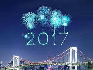 Картинки Фейерверк Мосты Ночь 2017 Города