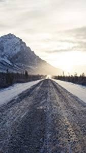 Фото Горы Дороги Утро Зима Снега
