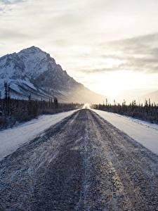 Фото Горы Дороги Утро Зима Снег