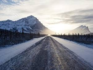 Фото Горы Дороги Утро Зима Снег Природа