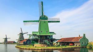 Фотография Нидерланды Речка Дома Ветряная мельница Zaanse Schans город