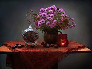 Обои Натюрморт Астры Свечи Каштан Стол Ваза Цветы