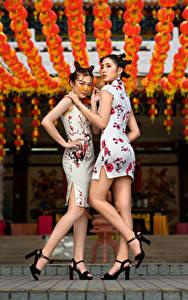 Фотография Азиаты Платья Ног Два Рука Причёска Позирует молодые женщины