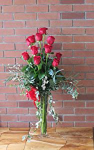 Фотографии Букет Розы Стена Красный цветок