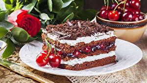 Фото Торты Черешня Шоколад Розы Часть Пища