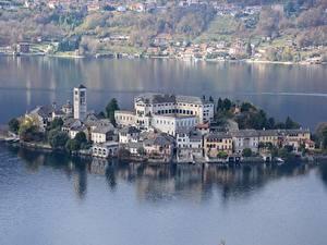 Картинки Озеро Остров Дома Италия Orta San Giulio, lake Orta, island of San Giulio город