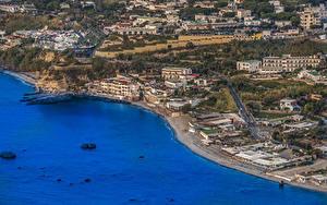 Картинка Италия Побережье Здания Сверху Ischia Citara Города