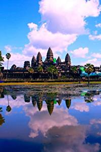 Фотографии Озеро Храм Религия Облачно Отражении Cambodia, Angkor Wat город