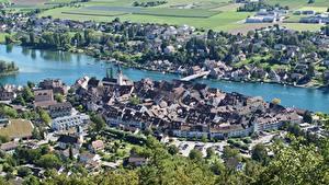 Фотография Швейцария Дома Речка Мосты Сверху Stein Am Rhein, Rhine river, Canton of Schaffhausen Города