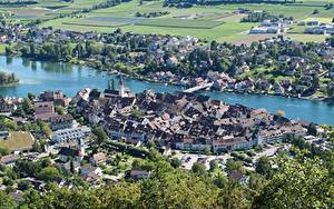 Фотография Швейцария Дома Речка Мосты Сверху Stein Am Rhein, Rhine river, Canton of Schaffhausen город