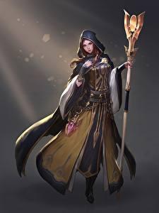 Фото Чародей Сером фоне Посохи Плащ Капюшоне Sorceress Cleric Heewon Kang Фэнтези Девушки