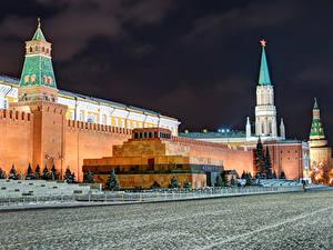 Картинки Москва Россия Московский Кремль Городской площади Ночью Lenin's Mausoleum Города