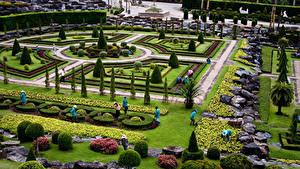 Картинки Таиланд Сады Камни Ландшафтный дизайн Газон Кусты Дизайна Nong Nooch Tropical Botanical Garden Природа