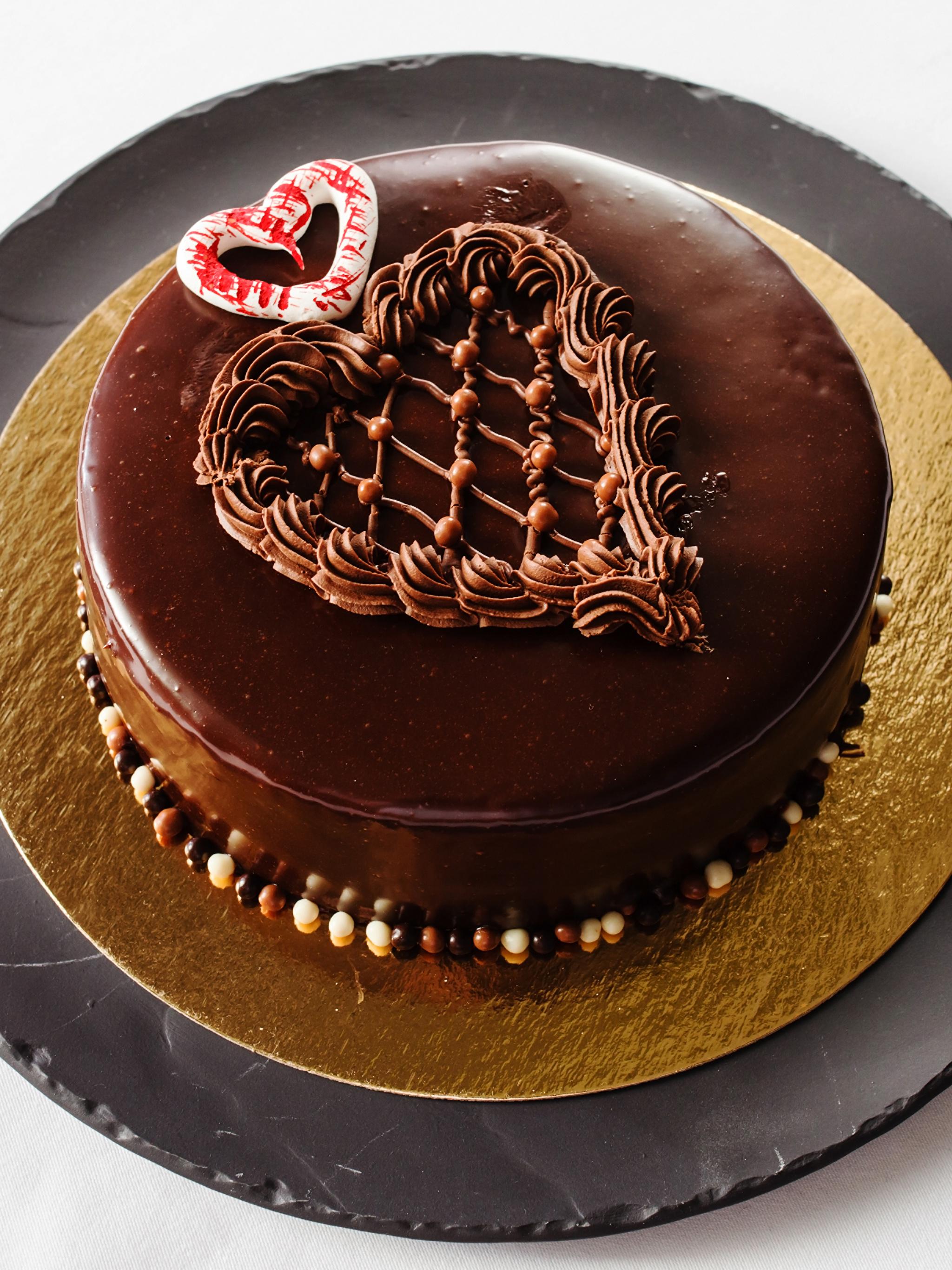 Картинки сердечко Шоколад Торты Еда Сладости 2048x2732 Сердце Пища Продукты питания