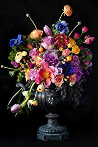 Обои Букеты На черном фоне Вазы Цветы