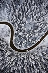 Фотографии Дороги Зима Леса Сверху Снег Природа