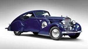 Фото Роллс ройс Винтаж Сером фоне Купе Фиолетовая 1937 Phantom III Aero Coupe авто