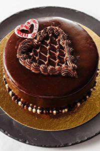 Обои для рабочего стола Сладкая еда Торты Шоколад Сердечко Еда