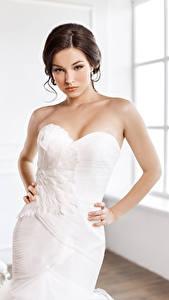 Фото Шатенка Невесты Платье Рука молодая женщина