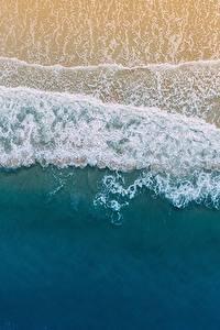 Фотографии Берег Волны США Сверху Флорида Palm Coast Природа
