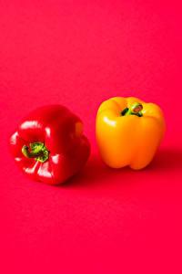 Фотографии Перец овощной Красный Красная Желтая 2 Пища