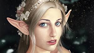 Обои Эльфы Лицо Красивые Взгляд Русые Фантастика Девушки