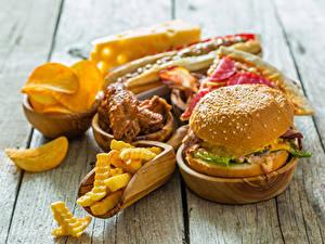 Картинки Быстрое питание Гамбургер Картофель фри Доски