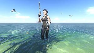 Картинки Tomb Raider Underworld Вода Лара Крофт Красивый компьютерная игра Девушки