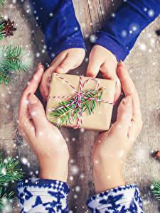 Обои Новый год Корица Рука Подарок Ветки Шишка Снегу