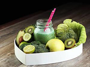 Картинка Напитки Коктейль Овощи Фрукты Яблоки Лимоны Банка Продукты питания