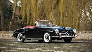 Обои для рабочего стола Mercedes-Benz Старинные Черных Кабриолет Металлик 1955-62 190 SL машины