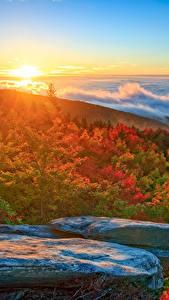 Фотографии Пейзаж США Побережье Рассветы и закаты Осень Камни Облака North Carolina Природа