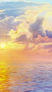 Фото Рассветы и закаты Море Рисованные Облака Молния Природа