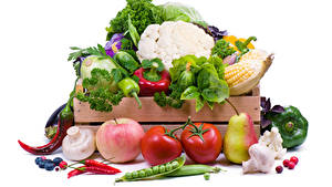 Фотографии Овощи Капуста Перец Яблоки Грибы Помидоры Груши Белый фон Еда