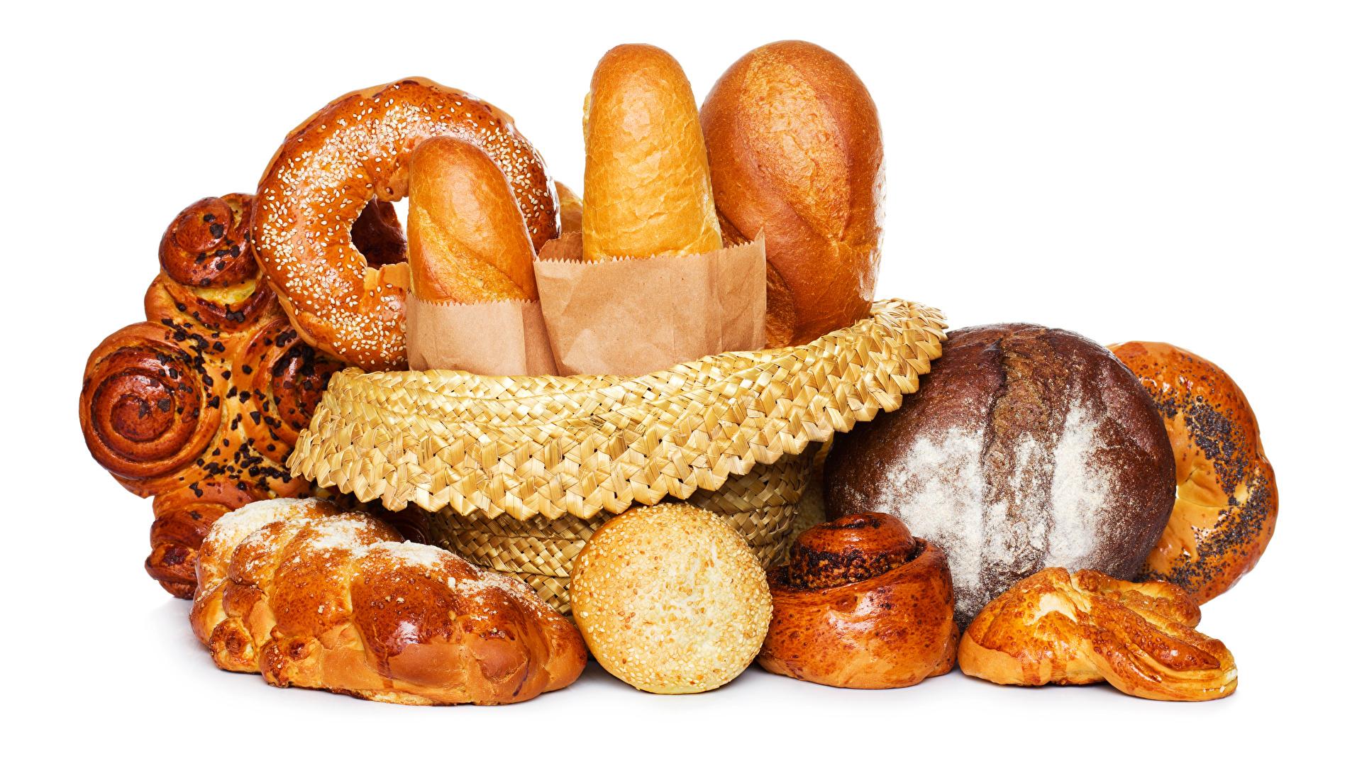 Картинки Хлеб Булочки Еда Выпечка Белый фон 1920x1080 Пища Продукты питания белом фоне белым фоном