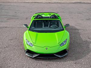 Фотография Lamborghini Салатовые Родстер Спереди Novitec Torado автомобиль