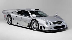 Обои Mercedes-Benz Серебристый Металлик Купе Сером фоне CLK GTR AMG Coupe, 1997 авто