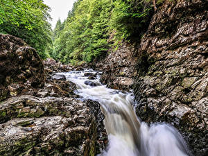 Фото Великобритания Водопады Утес Ручей Betws-y-Coed Wales Природа