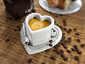 Фотографии Кофе Капучино Чашка Сердце Зерна Ложка Продукты питания