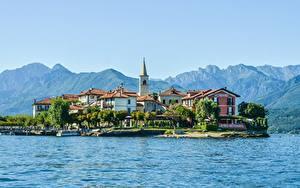 Фото Италия Гора Остров Озеро Дома Альпы Lake Maggiore, Pescatori Island Природа