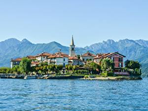 Фото Италия Гора Остров Озеро Дома Альпы Lake Maggiore, Pescatori Island